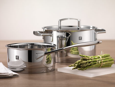 Zwilling cookware, as sample stock and stew pots made of stainless steel
