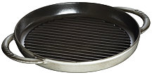 Staub Double handle grill, round, graphite grey
