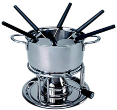 Kisag Fondue-Set Promo with gasburner, 6 forks, squirt protect